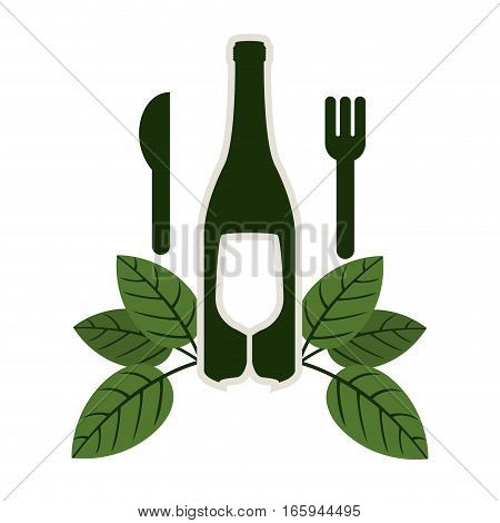 bottle wine and goblet with leaves and cutlery vector illustration