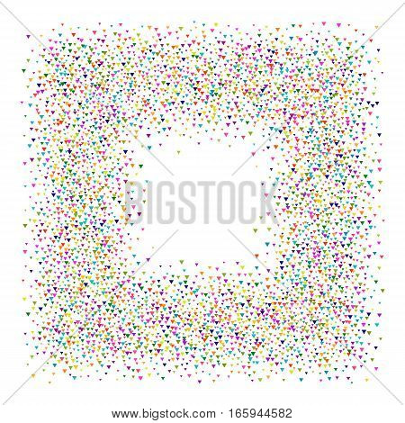 Frame with colored particles. Abstract dotted frame. Halftone effect illustration. Colorful triangles on white background