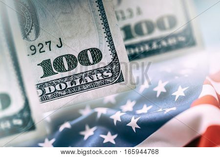 American Banking Concept. American Dollars and United States Of America Flag.