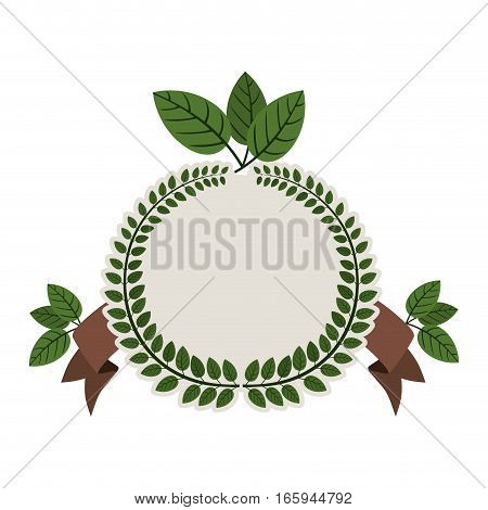 Arch of green leaves with ramifications and label vector illustration