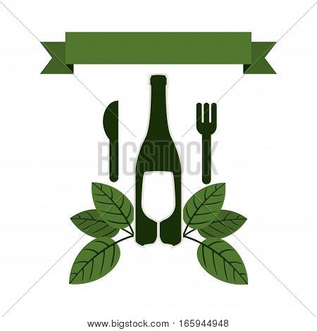 set bottle wine and goblet with leaves and cutlery vector illustration