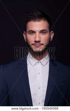 Young Man Suit Shirt Jacket Head Face Shoulders Portrait
