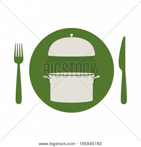 circular shape with cooking pot and cutlery vector illustration