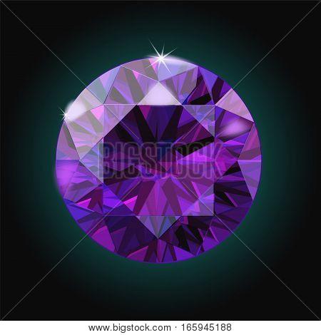 Brilliant Amethyst purple crystal gem sparkles black background vector illustration