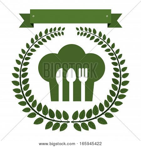 Arch of green leaves with chefs hat and cutlery vector illustration