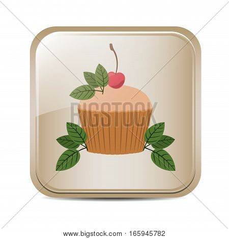 square button with cupcake and leaves vector illustration