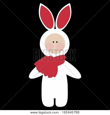 colored icon baby child in Bunny costume. template stickers badges or labels. baby shower or arrival. vector illustration