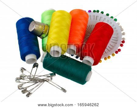 Sewing supplies - needle, thread, safety pins, and thimble