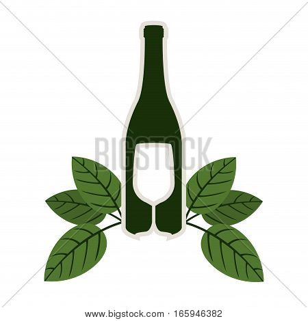 silhouette bottle wine and goblet with leaves