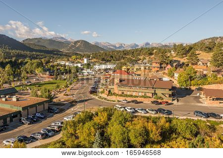 ESTES PARK CO/USA - SEPTEMBER 16 2016: Estes Park, nestled in the Rocky Mountains.
