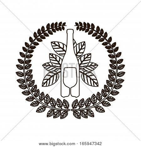 silhouette arch of leaves with bottle wine and goblet vector illustration