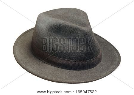 black wool hat isolated over white background