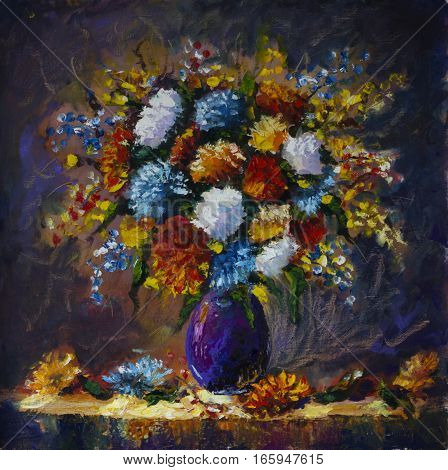 Original oil painting of bouquet of wild flowers in a vase on canvas. Modern Impressionism Art. Artwork.