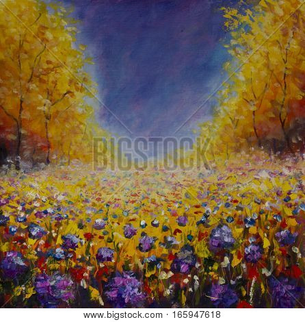 Original oil painting of Summer meadow of wild flowers against the sky on canvas. Modern Impressionism Art. Artwork.