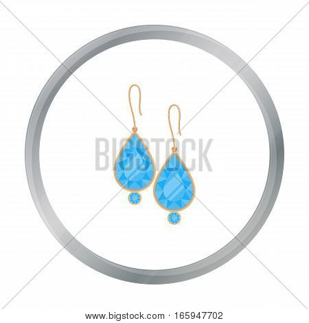 Earrings with gems icon in cartoon style isolated on white background. Jewelry and accessories symbol vector illustration.