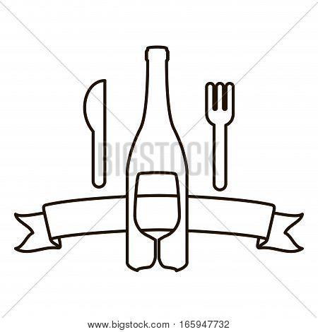 silhouette bottle wine and goblet with cutlery vector illustration