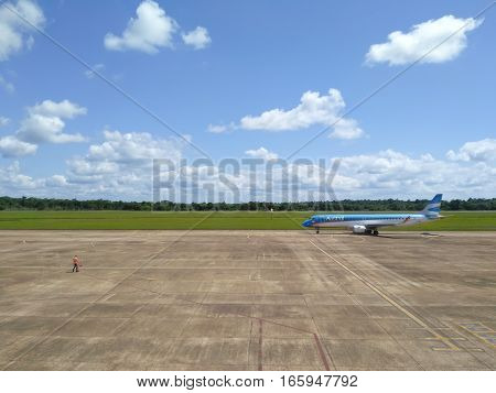 PUERTO IGUAZU ARGENTINA 29 NOVEMBER 2016: view to the airplane of Argentinian Airlines at the landing stripe