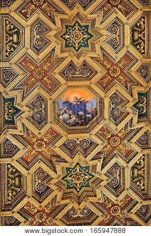ROME, ITALY: January 01, 2017 : fragment of ceiling in Basilica of Santa Maria in Trastevere in the Trastevere district of Rome on january 01, 2017, Rome, Italy