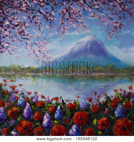 Original oil painting of flowers by the lake on a background of mountains on canvas. Modern Impressionism Art. Artwork.