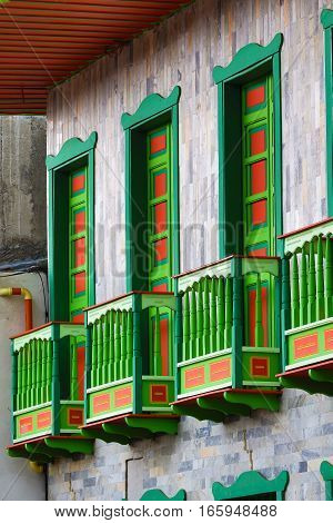 September 23, 2016 Filandia, Colombia: colonial style wooden balconies in the centre of the coffee producing small town