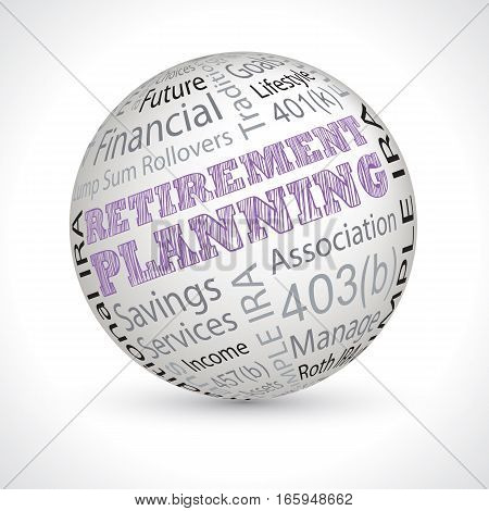 Retirement Planning Theme Sphere With Keywords