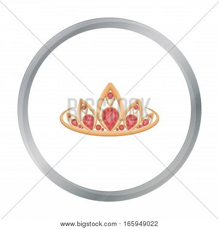 Diadem icon in cartoon style isolated on white background. Jewelry and accessories symbol vector illustration.