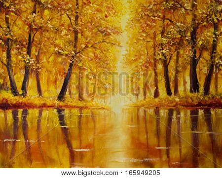 Original oil painting of River in autumn forest on canvas. Modern Impressionism