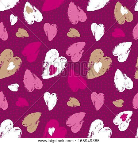 Pink background with valentine heart vector illustration. Ideal for printing onto fabric and paper or scrap booking