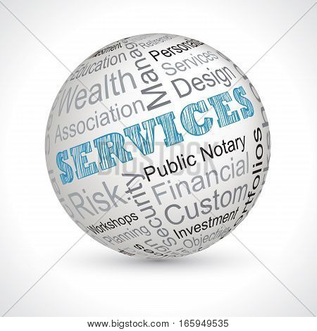services full vector theme sphere with keywords