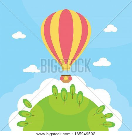 A hot air balloon background with space for text.