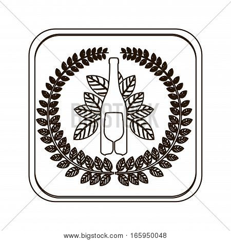 silhouette square button with crown of leaves with bottle wine and cutlery vector illustration