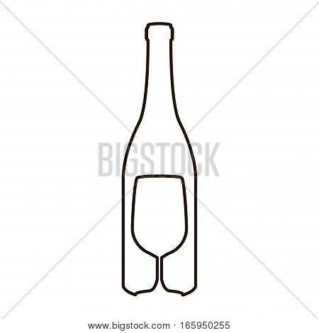 contour bottle wine and goblet vector illustration