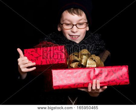 Boy Nerd With Present Boxes