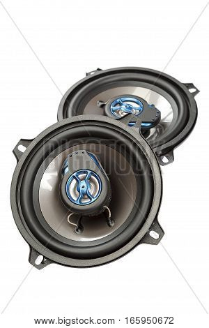 Car speakers isolated on a white background.