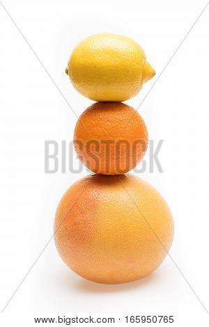 Orange, Lemon And Grapefruit Fruit Isolated On White