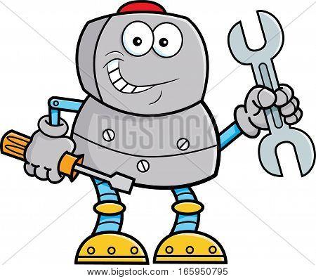 Cartoon illustration of a robot holding tools.