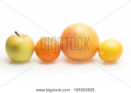 Orange, Grapefruit, Lemon And Apple Fruit Isolated On White