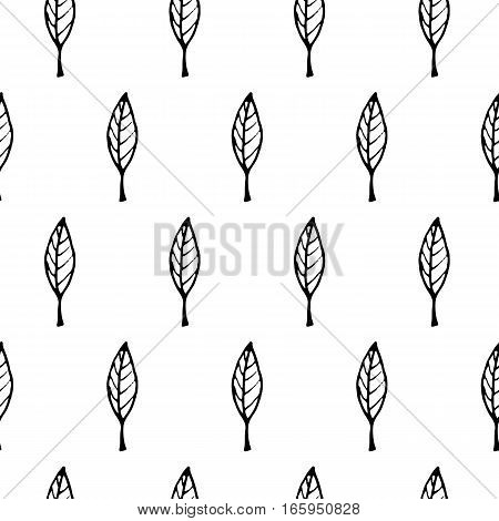 Doodle leaf pattern with hand drawn leaves. Cute vector black and white leaf pattern. Seamless monochrome leaf pattern for fabric, wallpapers, wrapping paper, cards and web backgrounds.