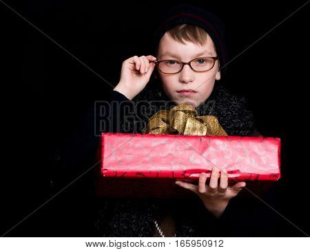 Boy Nerd With Present Box