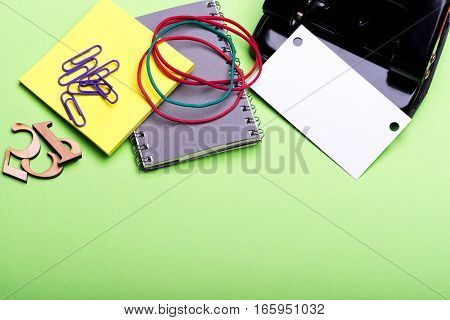 Stationery For Office: Hole Puncher, Notebook, Clips, Blank, Rubber Band