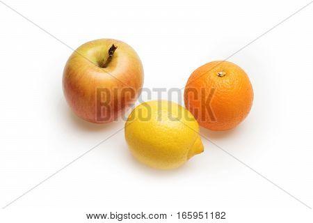 Orange, Lemon And Apple Fruit Isolated On White