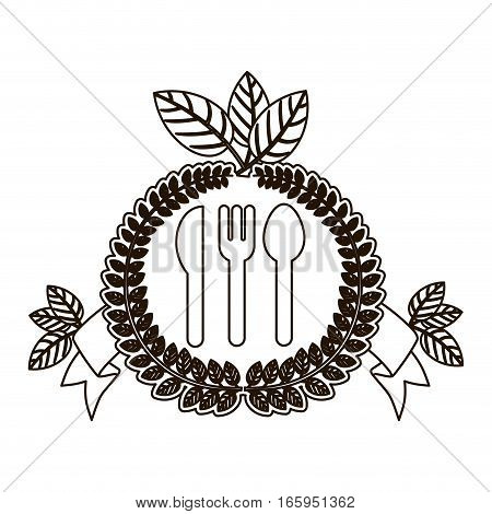 silhouette crown of leaves with silverware and label vector illustration