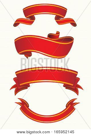 Vector illustration. Set of red ribbons