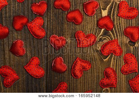 Red Heart On Wood As Valentines Day Decoration