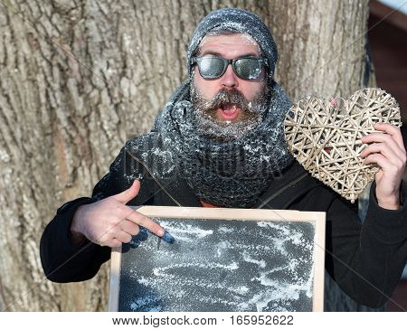 Man With Board And Heart