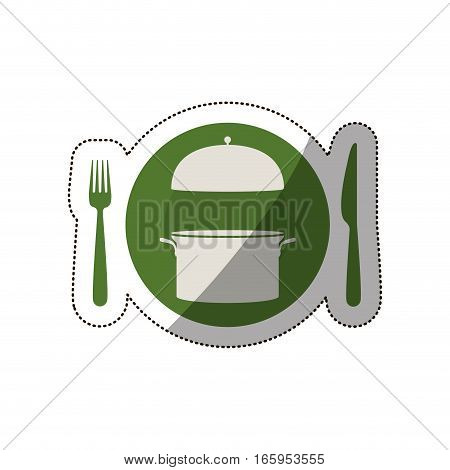 sticker circular shape with cooking pot and cutlery vector illustration