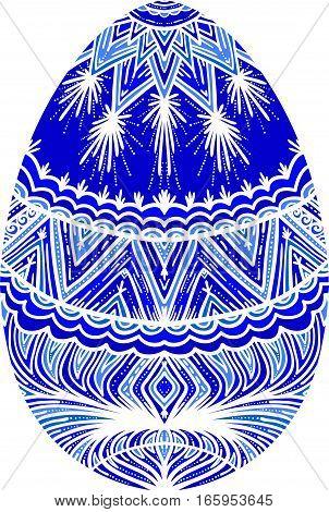 Happy easter design element. Ornamental blue egg.