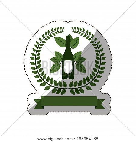 sticker arch of green leaves with bottle wine and cutlery vector illustration