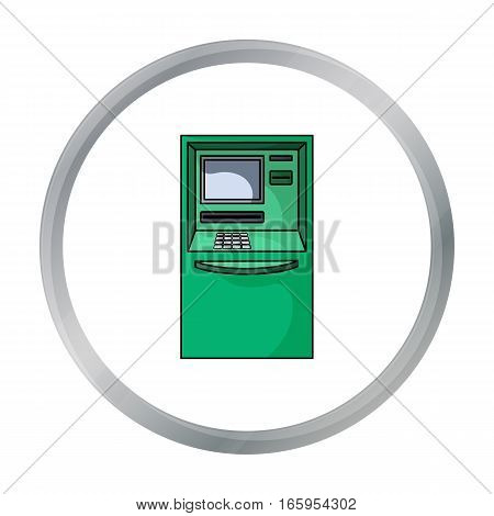 ATM icon in cartoon style isolated on white background. Money and finance symbol vector illustration.