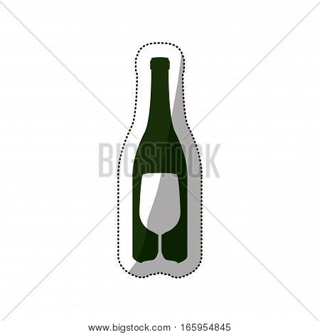 sticker silhouette bottle wine and goblet vector illustration